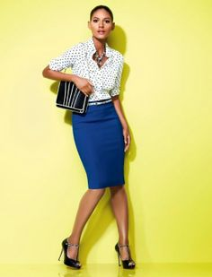 pencil skirt outfits | Nice work outfit...love that blue pencil skirt. Very ... | Work Outfi ...