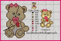 51 best images about bears Cross Stitch Boards, Cross Stitch Baby, Cross Stitch Animals, Cross Stitch Patterns, Teddy Girl, Teddy Bear, Crochet Baby Mobiles, Stitch Cartoon, Plastic Canvas Patterns