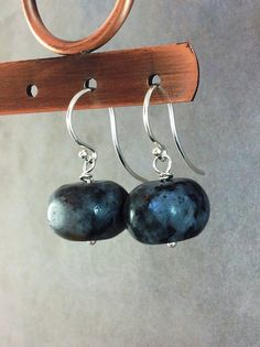Blue labradorite earrings. Natural dark blue gemstones. Minimalist stone jewelry on Etsy.