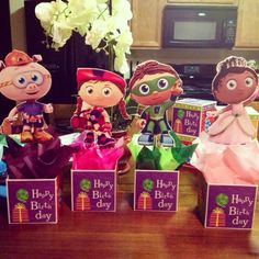 Super Why Birthday Party | Do it your self Super Why Centerpieces, $1 store boxes, woodsticks and ...