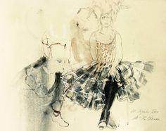 Hommage à Degas VI, graphite pencils, crayons, pastel colors, gouache, watercolors, silver- and golden pigments on paper, 14.2 H x 19.7 W x 0.4 in