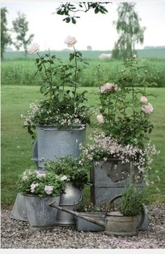 Great idea, use old tubs and such to create a container garden. Country chic ~