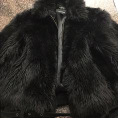 Express fur coat Black fur coat size medium woman's express Express Jackets & Coats