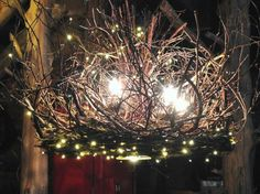 Shenandoah - 5 Candle With Down Light - Twig Chandelier - With 300 Fairy Lights - Branches Chandelier - Branch Light  - Rustic Chandelier