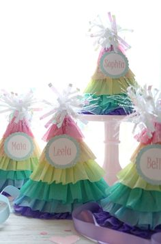 DIY rainbow ruffle party hats