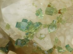 Bariopharmacosiderite Locality: Clara Mine, Rankach valley, Oberwolfach, Wolfach, Black Forest, Baden-Württemberg, Germany Bariopharmakosiderite in greenish, delicate light blue and yellow tones. A gift from Heinz Förch. Collection and Photo: Gerhard...