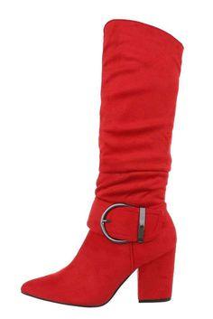 Dámske červené špicaté semišové čižmy s hrubým opätkom a striebornou prackou na boku. Wedges, Boots, Fashion, Crotch Boots, Moda, Heeled Boots, Wedge, Shoe Boot, Fasion