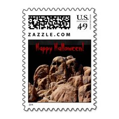 Happy Halloween Ghost Rocks Postage Stamp Spooky - This Happy Halloween postage stamp is decorated with our original photo of ghost rocks. Original photograph by Marcia Socolik. All Rights Reserved © 2014 Alan & Marcia Socolik #Halloween #Ghosts #PostageStamps