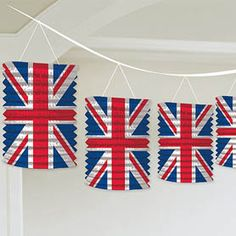 £4.99 for a string of 8   Brighten up your celebration or party with these Union Jack lanterns! 3.65m in length with 8 printed paper lanterns.