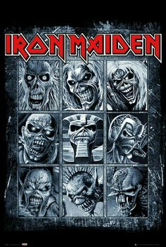 "An awesome Iron Maiden band poster - nine shots of ""Eddie"" from the band's classic album covers! Check out the rest of our great selection of Iron Maiden posters! Need Poster Mounts. Heavy Metal Bands, Heavy Metal Rock, Heavy Metal Music, Metal Music Bands, Metal Band Logos, Rock Band Logos, Black Metal, Rock And Roll, Pop Rock"
