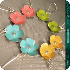 Tiny Aqua Flower  Upcycled Tin Earrings by christineterrell, $25.00
