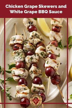 These grilled chicken and sweet California grape skewers by chef Roger Mooking are complemented perfectly by homemade white bbq sauce that's easy to make. #chickenskewersgrilled #chickenskewers #chickenskewersmarinade #chickenskewersgrilledmarinade #chickenskewerrecipes #bbq #easy #chickenskewersgrilledsauce #grilledchicken #bbqsaucehomemade #bbqsauce #bbqsaucerecipe #whitebbqsauce #whitebbqsaucerecipe #whitebbqsaucechicken Barbecue Recipes, Grilling Recipes, Yummy Appetizers, Appetizer Recipes, Chicken Skewers Marinade, Roger Mooking, White Bbq Sauce, Grape Recipes, California Food
