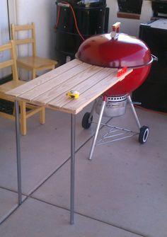 Image result for DIY folding table for Weber 57 grill