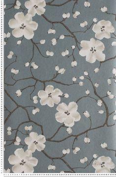 Poppy Bleu Fumée - papier peint Tiffanie