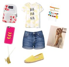 """""""BANANAS!"""" by raquate1232 ❤ liked on Polyvore featuring MANGO, JanSport, Topshop, Casetify, Cents of Style, Soludos and BaubleBar"""