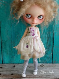 Blythe doll outfit OOAK vintage embroidered dress by Petite Apple