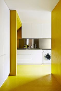 """Rubber tiles – used on the walls as well as the floor – are highly practical in wet areas such as the laundry.   Pastille Alpha **tiles** in Jeune Citron, [Dalsouple](http://www.dalsouple.com.au/Home.html