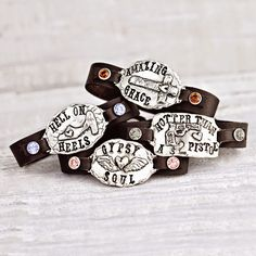 Inspirational handmade leather bracelets by Island Cowgirl Jewelry. Hotter than a Two Dollar Pistol, Gypsy Soul, Hell on Heels & Amazing Grace Handmade with Love in Nashville, TN. www.islandcowgirl.com