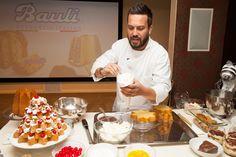 Bauli brand ambassador Fabio Viviani gives a demo at the Bauli NYC launch party.