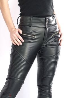 Cheyenne high-waisted stretch leather pants with padded thighs and shapely silhouette. Faux Leather Pants, Biker Leather, Leather Men, Leather Jackets, Vintage Leather, Brown Leather, Extreme Fashion, Mood Board Fashion, Zoe S