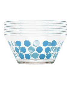 Another great find on #zulily! Azure Dot Bowl - Set of Six #zulilyfinds