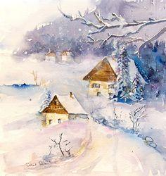 Aquarelle de chalets sous la neige peinture par MartineSaintEllier