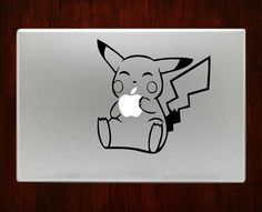 """Pikachu Eating Apple Decal Sticker Vinyl For Macbook Pro/Air 13"""" Inch 15"""" Inch 17"""" Inch Decals Laptop Cover"""