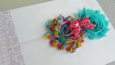 Rainbow Colored Shabby Flower Headband with Pink Sequin Bow Embelishment