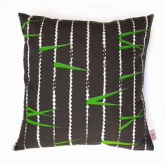 'ZigZag' cushion cover by Skinny laMinx. Inspired by a trip to Tokyo, and the fronds of a Palm peeping through the slats of a wooden fence. Cushion Covers, Pillow Covers, Scandinavian Style, Zig Zag, Clothing Patterns, Cotton Linen, Contemporary Design, Screen Printing, Pattern Design