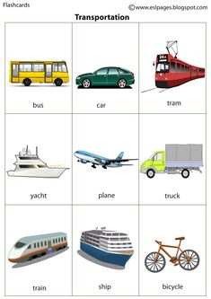 Esl Pages: Transportation English Activities For Kids, Learning English For Kids, English Worksheets For Kids, Toddler Learning Activities, English Language Learning, Teaching English, English Vocabulary Words, Learn English Words, English Study