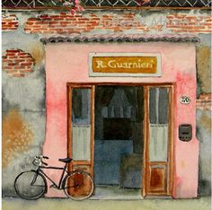 Art Watercolor Watercolor Painting: Mothers Day Bike Men Women Door Windo Travel Florence Italy Black Bike Flowers x Under 50 Bike Storage Design, Old Wooden Doors, Watercolor Architecture, Grey And Coral, Bicycle Art, Painted Doors, City Art, Watercolor Paintings, Watercolors
