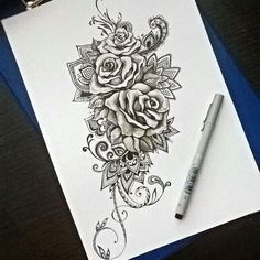 I am thinking single rose with many of these elements ♥
