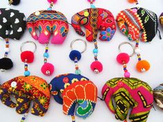 5 Pcs Elephant Keychain Fabric Keychain Handmade Elephant Fabric Wholesale Lot. $10.00, via Etsy.