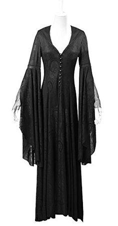 Robe noble pretresse noire avec motif vintage, capuche, manches kimono élégant gothiq - XL: Amazon.fr: Vêtements et accessoires