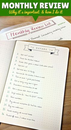 How to do a monthly review in your planner, Bullet Journal, notebook, or word processor, to focus on and work towards your goals (with FREE printable template) >> http://howtogyst.com/monthly-review/