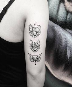 tatouage-loup-femme-petit-tatouage-géométrique-bras-tête-loup-hibou-ours