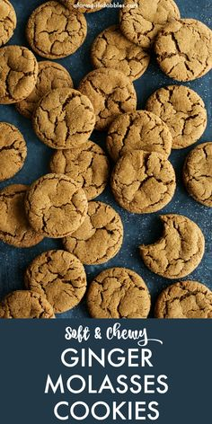 Chewy Ginger Molasses Cookies from afarmgirlsdabbles… – This recipe is easy to make, with no need to chill the dough. The cookies are perfectly soft and chewy, with just the right amount of spices and molasses – the ultimate fall and holiday cookie! Mary Berry, Holiday Baking, Christmas Baking, Christmas Holiday, Christmas Treats, Christmas Decorations, Cookie Recipes, Dessert Recipes, Ginger Cookie Recipe