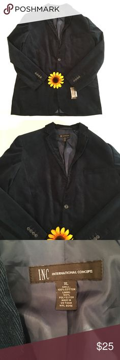 NWT blue INC International Concepts blazer XL NWT midnight blue blazer in a size XL. INC International Concepts. Corduroy material. Two front buttons. Length- approximately 32 inches, bust- approximately 24.5 inches, sleeve length- approximately 26 inches. INC International Concepts Jackets & Coats Blazers