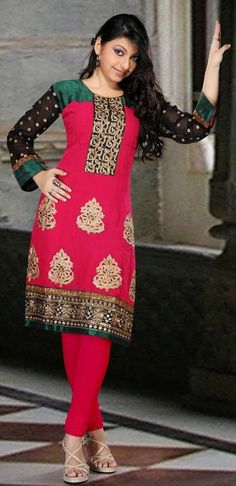 $116.16 Pink Faux Georgette Zardosi Work Anarkali Suit 26594