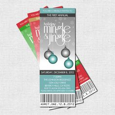 """HOLIDAY PARTY """"Mingle & Jingle"""" Printable Ticket Invitations - Perfect for Christmas parties, block parties, staff/office events or fundraisers!  Available in any color scheme."""