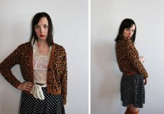 vintage 80's LEOPARD PRINT button up cardigan retro women's sm to medium  by foxandfawns, $27.00