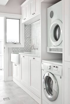 Karla Spencer - Our laundry - we just love these fish scale tiles... thanks to Provincial Kitchens Clovelly (cabinetry), Art of Tiles Newtown,  The English Tapwear Company & Cape Cod Home Additions