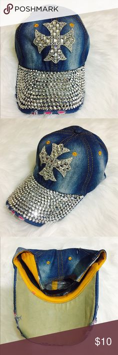 Bejeweled Cross Denim Hat 100%Cotton adjustable strap imported Accessories Hats