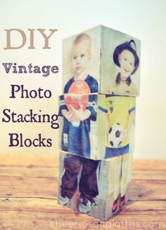 Photo stacking blocks for kids - switch out heads, feet, bodies. Made with Mod Podge Photo Transfer Medium.