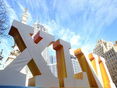 Super Bowl 46 installation, Monument Circle, downtown Indianapolis. Scott Halleran/Getty Images.