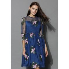 Like a rose garden, you could totally get lost gazing at this navy blue mesh dress featuring large pink and white embroidered roses. The sweetheart bodice, sheer mesh sleeves and swaying silhouette make this the perfect addition to the formal wear in your wardrobe!   - Round neckline - Sweetheart bust - Sheer mesh sleeves and shoulder - Lined - Concealed side zipper closure - 95% Rayon, 5% Spandex - Hand wash or dry clean  Size(cm) Length  Bust  Waist  Shoulder  Sleeves S                 102…