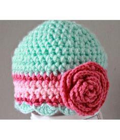 Mutsje van zacht acryl, kleuren mint groen en lichte tinten roze,maat pasgeboren baby. Andere maat of kleur op aanvraag Newborn Crochet, Crochet Baby Hats, Crochet Beanie, Baby Knitting, Knit Crochet, Niece And Nephew, Some Ideas, Ear Warmers, Headbands