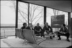 """guillemturrocasanovas: """" Andy Warhol, David Whitney, Phillip Johnson, Dr. John Dalton and architect Robert Stein at The Glass House in New Canaan, CT (1964-65) by David McCabe """""""