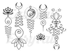 Unalome Temporary Tattoos - Unalome - Lotus Temporary Tattoo - Fake Tattoo - Tattoo - Gift Ideas - W - Tattoo Design Unalome Tattoo, Lotusblume Tattoo, Ganesha Tattoo, Samoan Tattoo, Polynesian Tattoos, Hindu Tattoos, Symbol Tattoos, Fake Tattoos, Tattoo Symbols