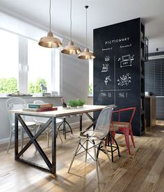 Amazing modern industrial apartment by Int 2 Architects // Increíble departamento vintage industrial moderno // Casa Haus Compact Dining Table, Dining Room Table, Small Dining, Dining Area, Masculine Apartment, Townhouse Designs, Appartement Design, Old Apartments, Industrial Apartment